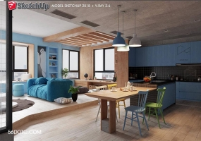 室内空间SketchUp精品模型VFS3.6含渲染参数