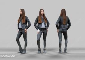 3D女孩人物SketchUp草图大师模型005