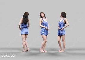 3D女孩人物SketchUp草图大师模型004