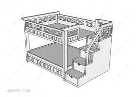 儿童双层床-SketchUp草图大师模型
