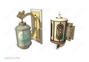 中式壁灯002-SketchUp草图大师模型