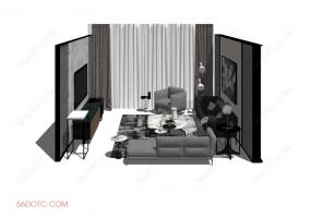 客厅整体软装0051-SketchUp草图大师模型