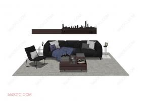 客厅整体软装0052-SketchUp草图大师模型