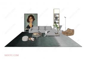 客厅整体软装0053-SketchUp草图大师模型