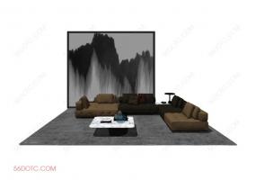 客厅整体软装0059-SketchUp草图大师模型