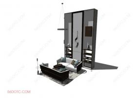 客厅整体软装0061-SketchUp草图大师模型
