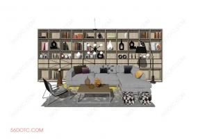 客厅整体软装0062-SketchUp草图大师模型