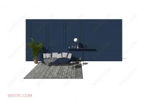 客厅整体软装0063-SketchUp草图大师模型