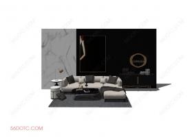 客厅整体软装0064-SketchUp草图大师模型