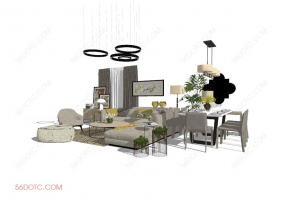 中式整体软装00014-SketchUp草图大师模型