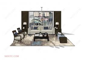 客厅整体软装0072-SketchUp草图大师模型