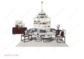 客厅整体软装0073-SketchUp草图大师模型