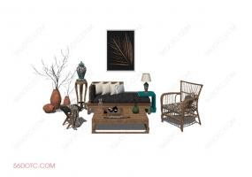 客厅整体软装0074-SketchUp草图大师模型