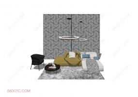客厅整体软装0075-SketchUp草图大师模型