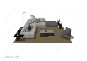 客厅整体软装0076-SketchUp草图大师模型