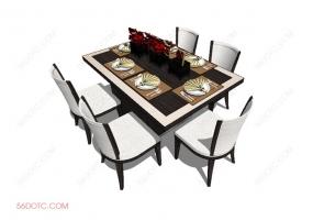 桌椅组合0001-SketchUp草图大师模型