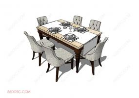 桌椅组合0003-SketchUp草图大师模型