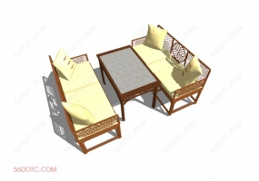 桌椅组合0004-SketchUp草图大师模型