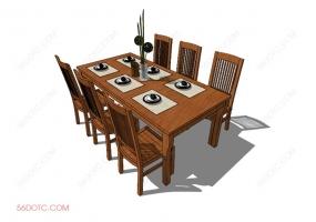 桌椅组合0005-SketchUp草图大师模型