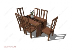桌椅组合0006-SketchUp草图大师模型