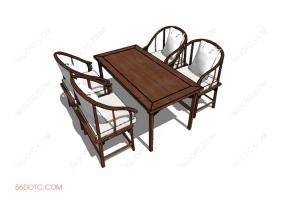 桌椅组合0007-SketchUp草图大师模型