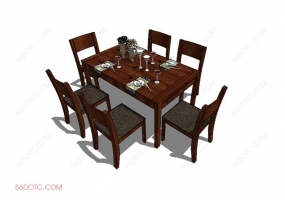 桌椅组合0008-SketchUp草图大师模型
