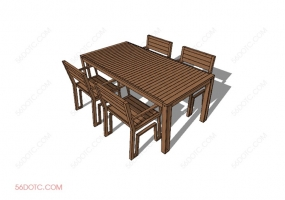桌椅组合0009-SketchUp草图大师模型