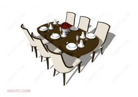 桌椅组合00011-SketchUp草图大师模型