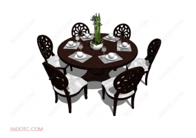 桌椅组合00012-SketchUp草图大师模型