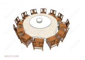 桌椅组合00013-SketchUp草图大师模型