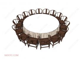 桌椅组合00014-SketchUp草图大师模型