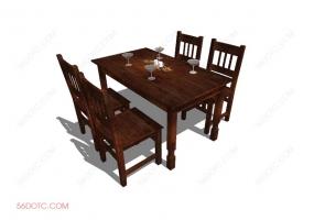 桌椅组合00027-SketchUp草图大师模型