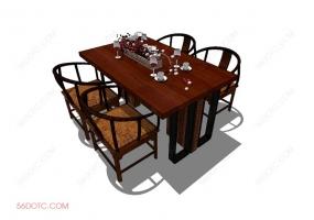 桌椅组合00028-SketchUp草图大师模型