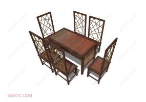 桌椅组合00029-SketchUp草图大师模型