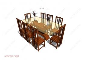 桌椅组合00030-SketchUp草图大师模型