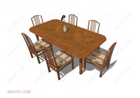 桌椅组合00032-SketchUp草图大师模型