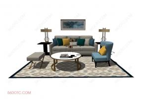 客厅整体软装00114-SketchUp草图大师模型
