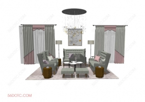 客厅整体软装00115-SketchUp草图大师模型