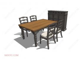 桌椅组合00051-SketchUp草图大师模型