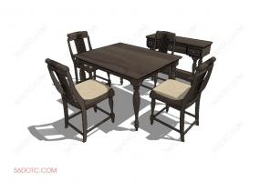 桌椅组合00052-SketchUp草图大师模型