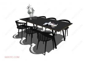 桌椅组合00069-SketchUp草图大师模型