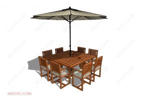 桌椅组合00074-SketchUp草图大师模型:室外桌椅