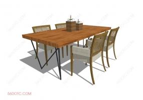 桌椅组合00075-SketchUp草图大师模型