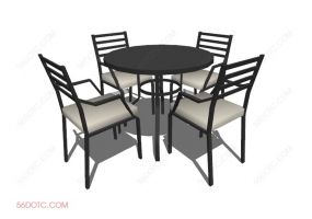 桌椅组合00076-SketchUp草图大师模型
