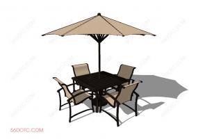 桌椅组合00079-SketchUp草图大师模型:室外桌椅