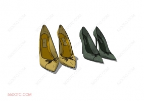 服装00077-SketchUp草图大师模型:女鞋