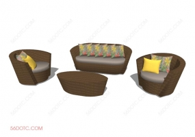 组合沙发0001-SketchUp草图大师模型