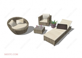 组合沙发0004-SketchUp草图大师模型