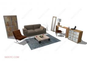 客厅整体软装00126-SketchUp草图大师模型