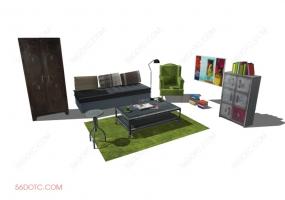 客厅整体软装00127-SketchUp草图大师模型